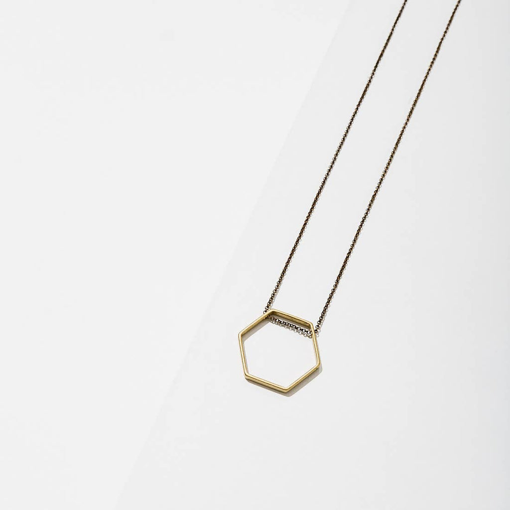 Brass Hexagon Necklace
