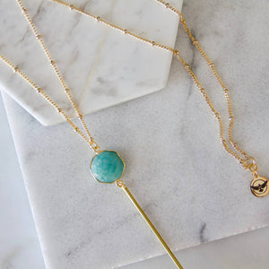 Amazonite Hexagon Drop Necklace