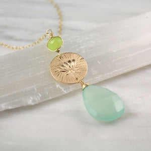 Chalcedony and Stamped Long Gold Necklace