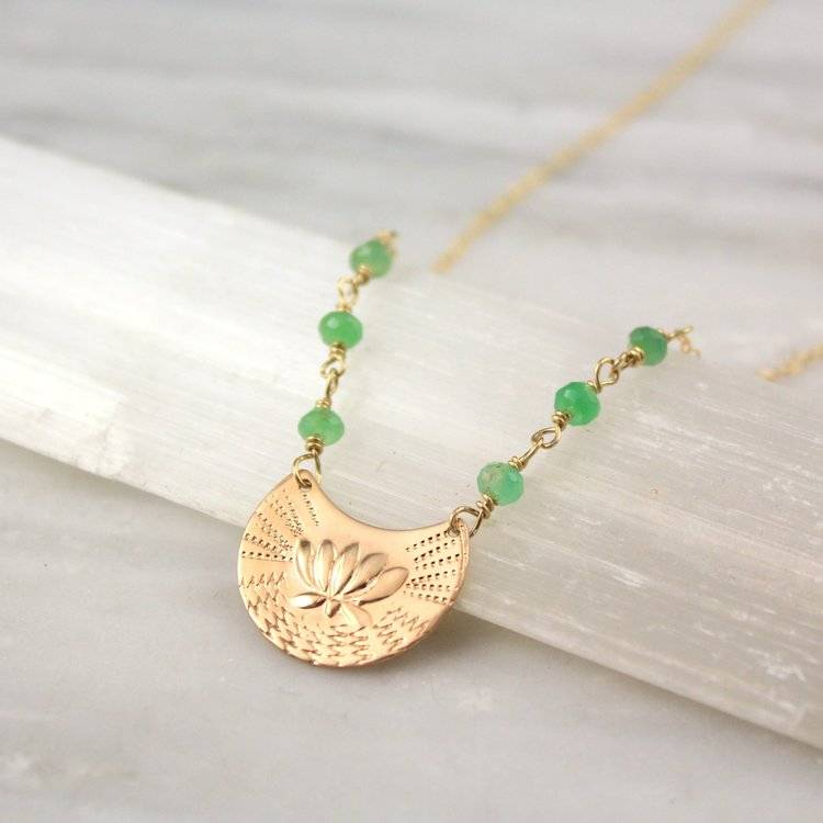Chrysoprase Lotus Gold Necklace