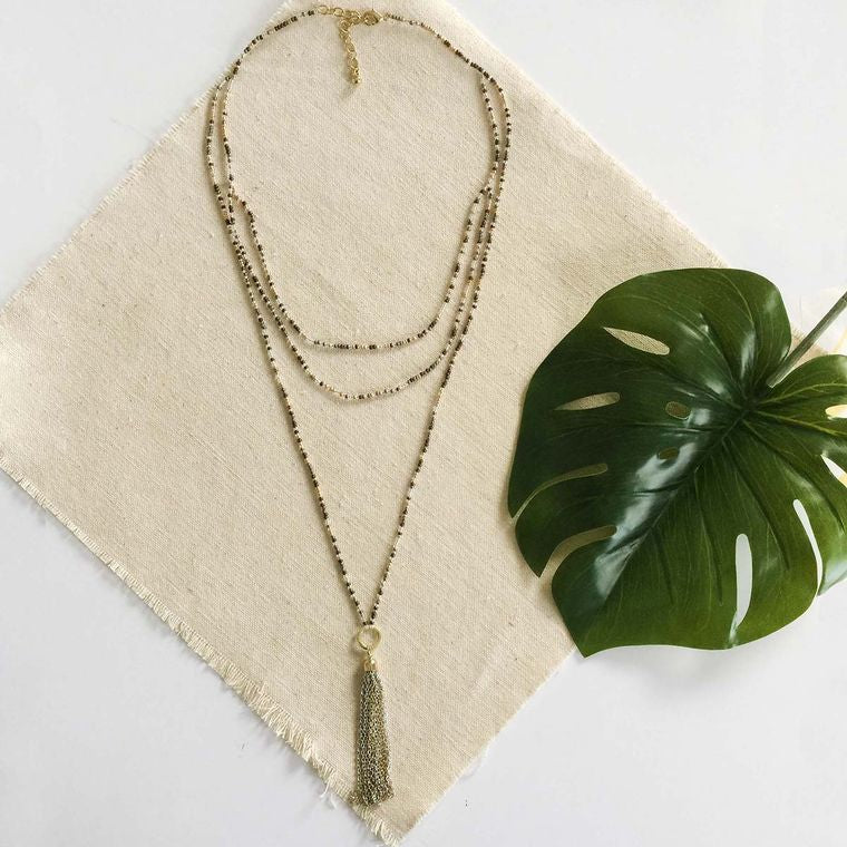 Ombre Metallic Tassel Necklace