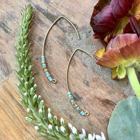 Turquoise & Brass Crescent Earrings