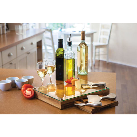 Glass Top Cheese Board - Elegant Touch Gourmet and Wine