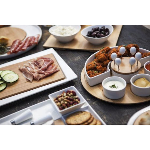 Bamboo Serving Tray with Bowls - Elegant Touch Gourmet and Wine