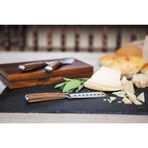 Steel Cheese Knife set in Acacia Box - Elegant Touch Gourmet and Wine