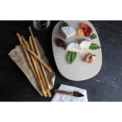 Marble Cheese Board on Acacia Base - Elegant Touch Gourmet and Wine