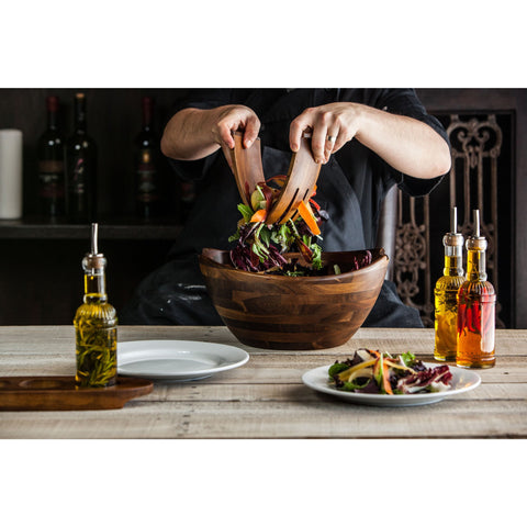 Oversized Salad Bowl with Serving Tools - Elegant Touch Gourmet and Wine