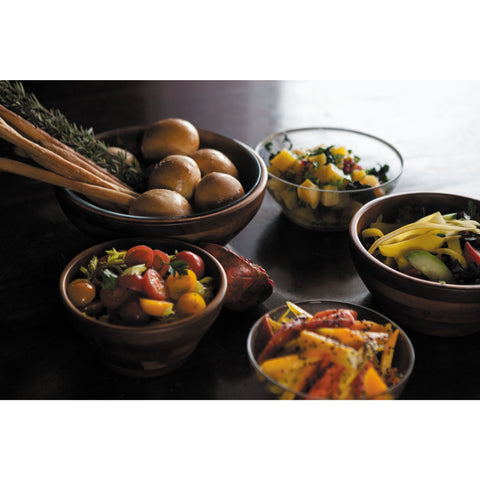 Set of 3 Glass and Acacia Serving Bowls - Elegant Touch Gourmet and Wine