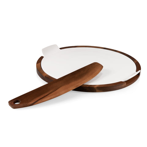 Pizza Server with Cutter and Ceramic Pizza Stone - Elegant Touch Gourmet and Wine
