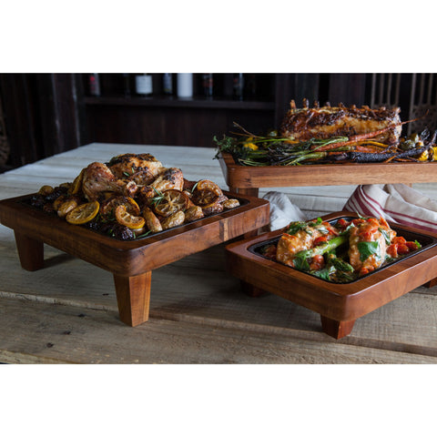 Set of 3 Pedestal with Cast Iron Griddle - Elegant Touch Gourmet and Wine