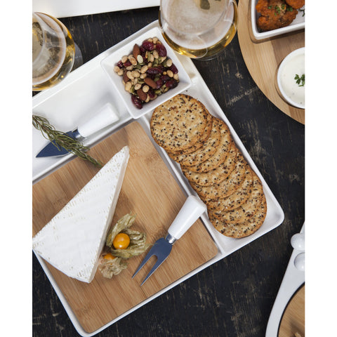 Peninsula Cutting Board Serving Tray with Cheese Tools - Elegant Touch Gourmet and Wine