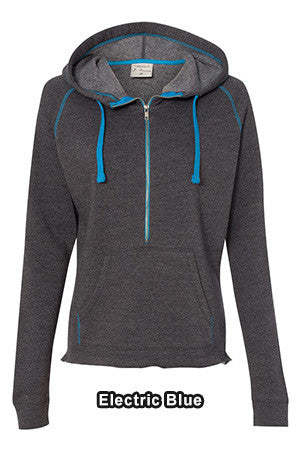 JAmerica 23528 - Ladies 1/2 Zip Triblend Hooded Pullover Sweatshirt