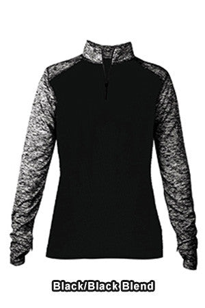 Badger Sport 4198 - Ladies Blend Colorblock 1/4 Zip Long-Sleeve Pullover