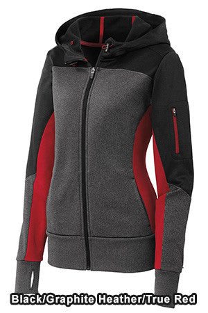 Sport-Tek LST245 - Ladies Tech Fleece Colorblock Full-Zip Hooded Jacket