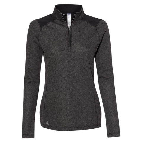 Adidas - Women's Heathered Quarter Zip Pullover with Colorblocked Shoulders - A464