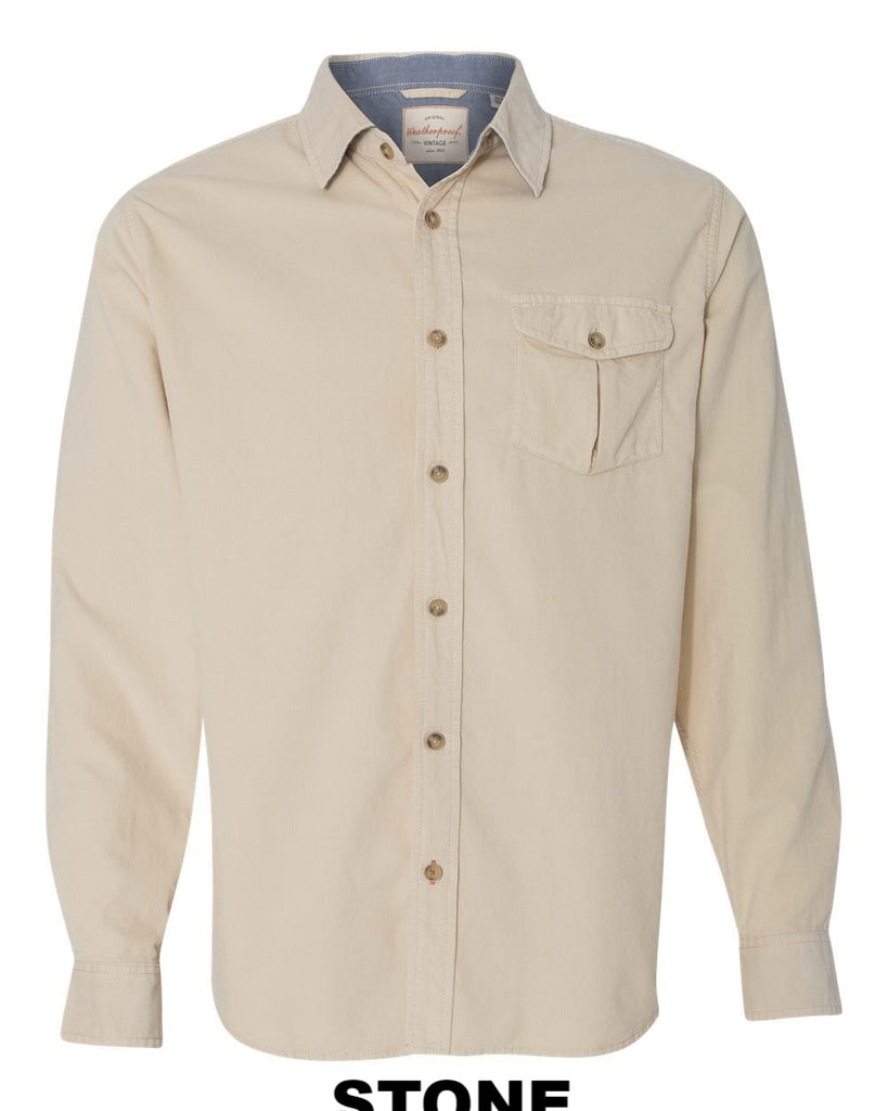 Weatherproof 154867 Vintage Mini Cord Long Sleeve Shirt
