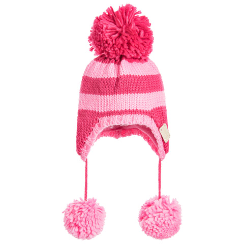 Pink striped bobble hat