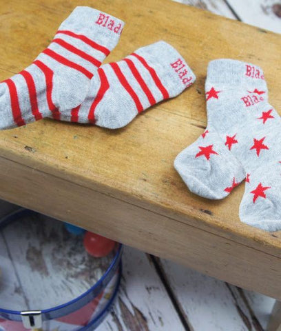 Socks - grey & red
