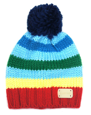 Multi stripe bobble hat