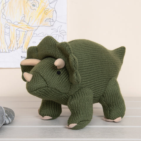 Dinosaur - Knitted Green Triceratops