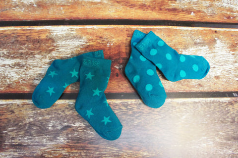 Teal star socks