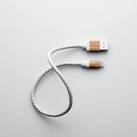 Le Cord White Leather Apple Charging Cable on Teqtique