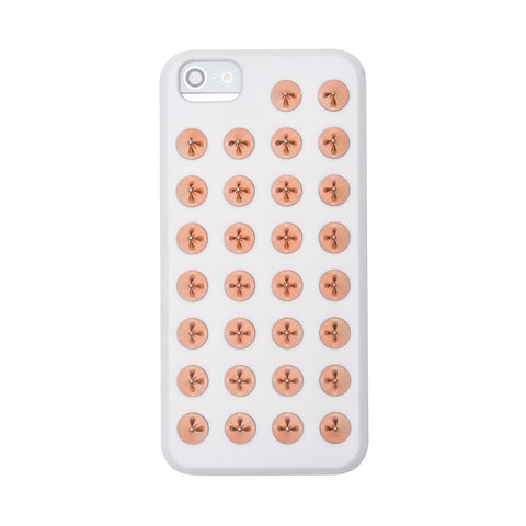Felony Case Exile White and Rose Gold Studded iPhone 5/S Phonecase on Teqtique