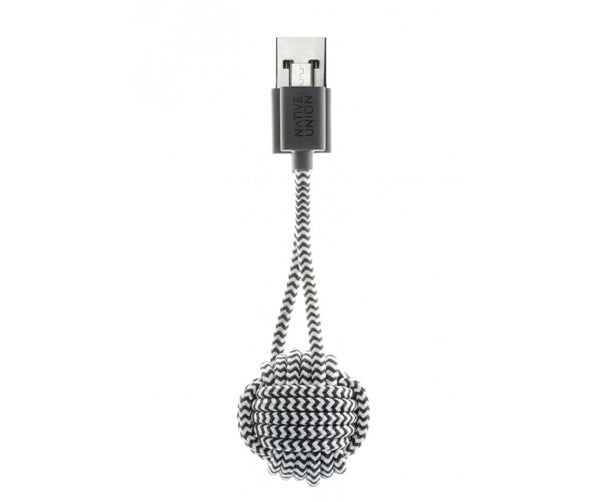 Native Union Android Charging Key Ring Cable in Zebra Black and White on Teqtique