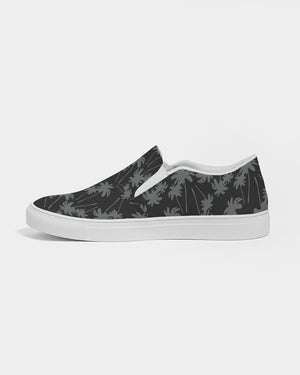 Black and White Palms Men's Slip-On Canvas Shoe