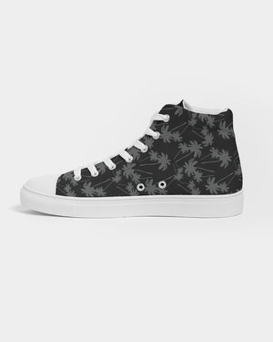Black and White Palms Women's Hightop Canvas Shoe