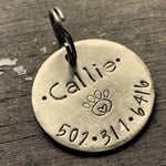 Brass Dog Tag with Custom Name and Phone Number
