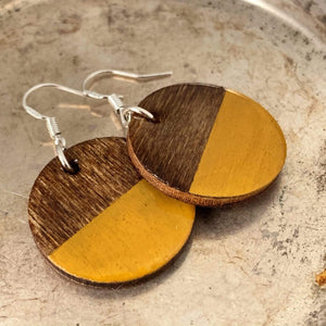 Mustard Yellow Hand Painted Wood Earrings