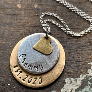 Personalized New Grandma Necklace, Established Grandma Jewelry, Custom Engraved New Nana Gift