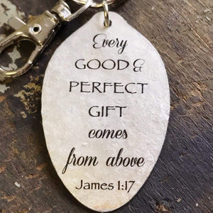 every good and perfect gift spoon keychain