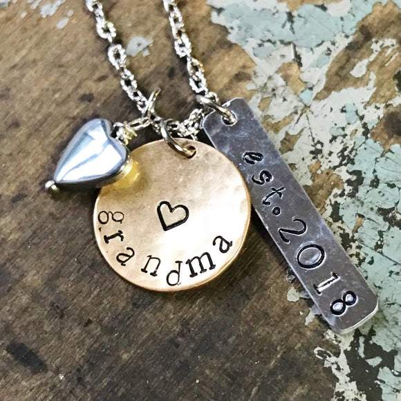Personalized Gift for New Grandma, Established Grandma Necklace, New Nana Gift