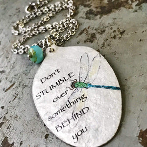 Don't stumble over something behind you necklace - kyleemae designs