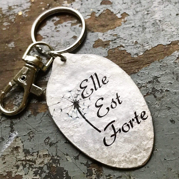 Elle Est Forte Spoon Keychain, She is Strong Pendant, Proverbs 31:25 Scripture Jewelry, Quick Ship, Unique Spoon Pendant by Kyleemae Designs