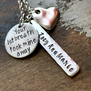 Your First Breath Took Mine Away Personalized New Mom Necklace