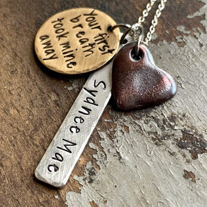 Personalized Gift for New Mom, Your First Breath Took Mine Away Necklace