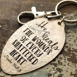 Psalm 147:3 He Heals the Wounds of Every Shattered Heart Spoon Keychain