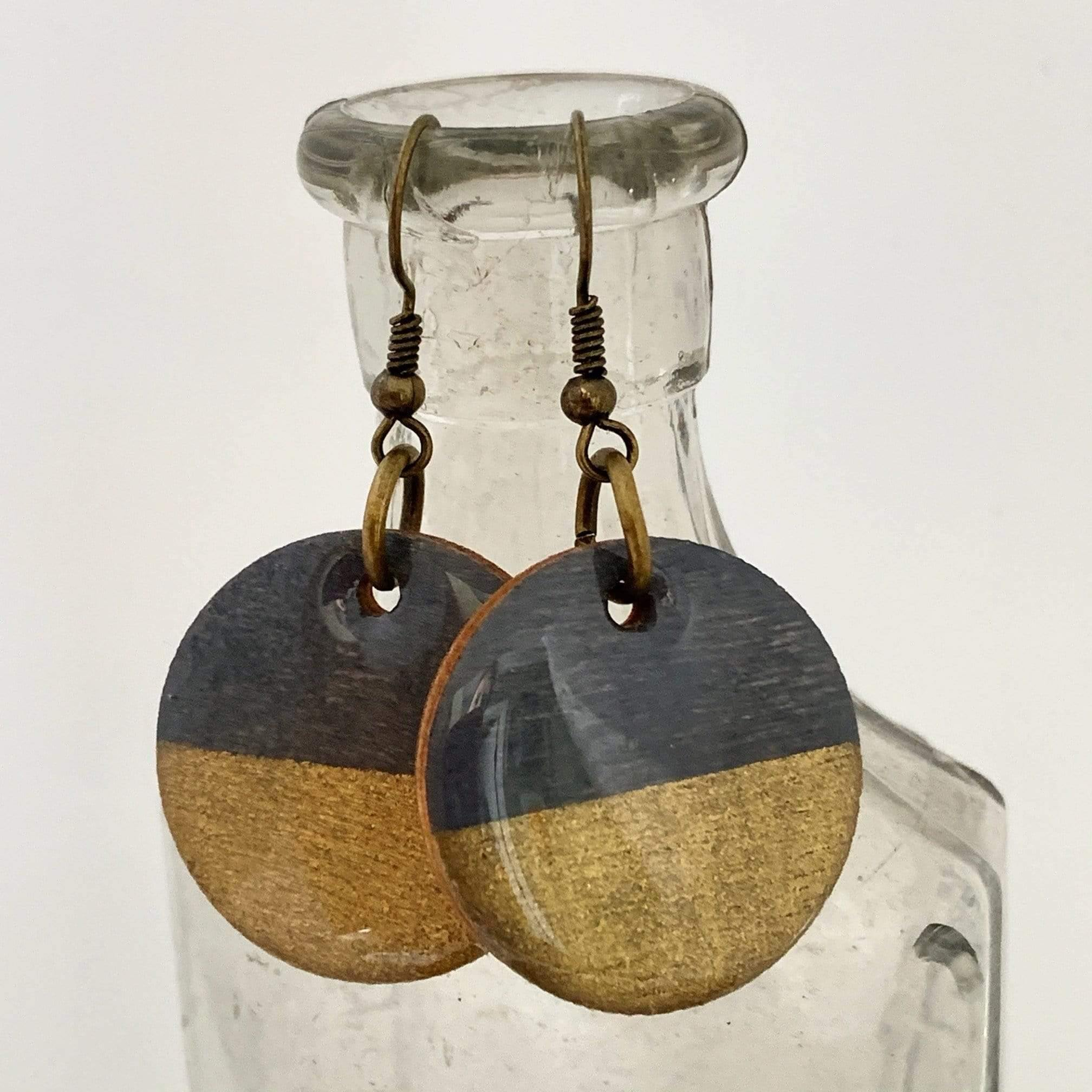 Gold and Gray Hand Painted Wood Earrings
