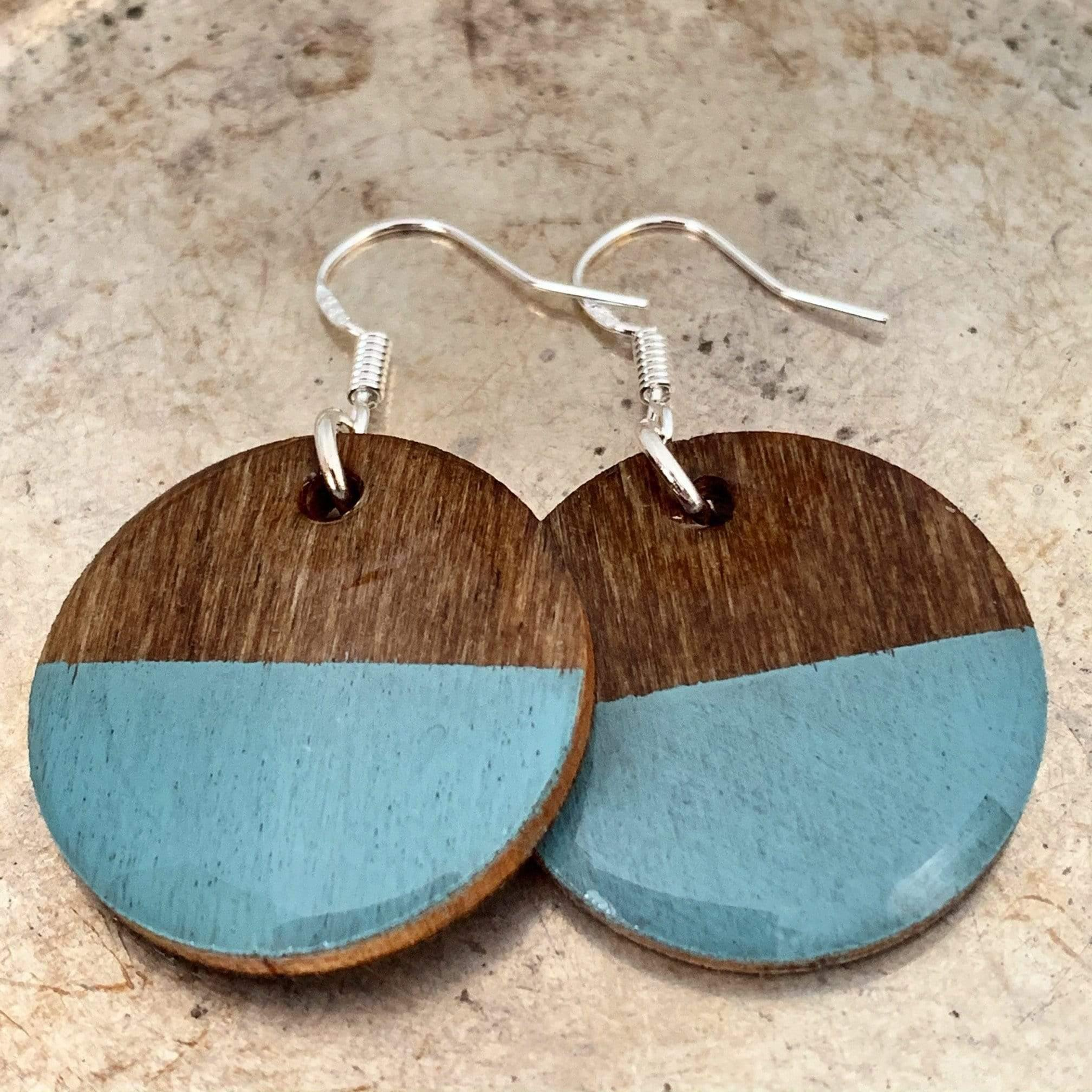 Turquoise Hand Painted Wood Earrings