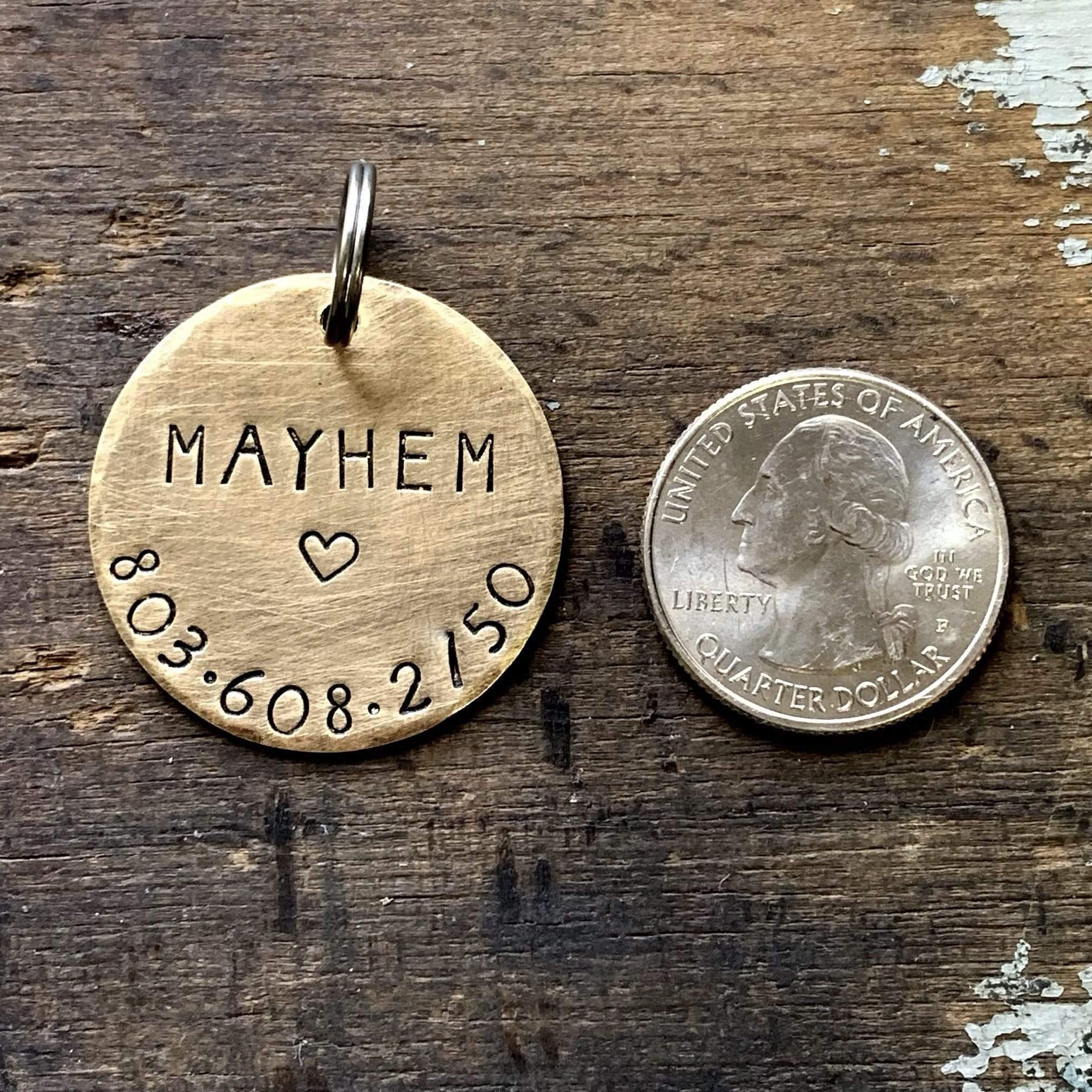 Personalized Dog Tag for Collar in Solid Brass with Heart Design