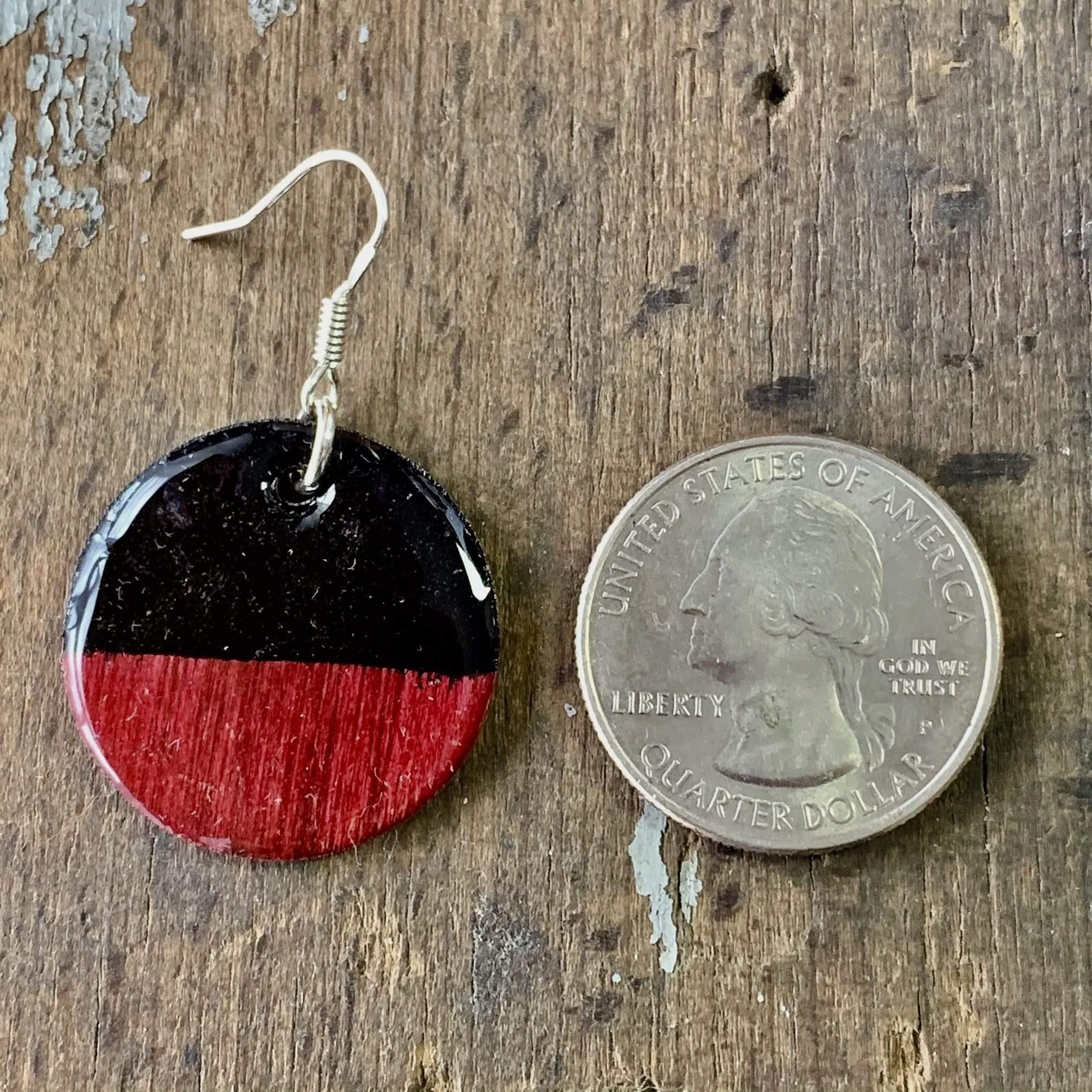 Red and Black Hand Painted Wood Earrings