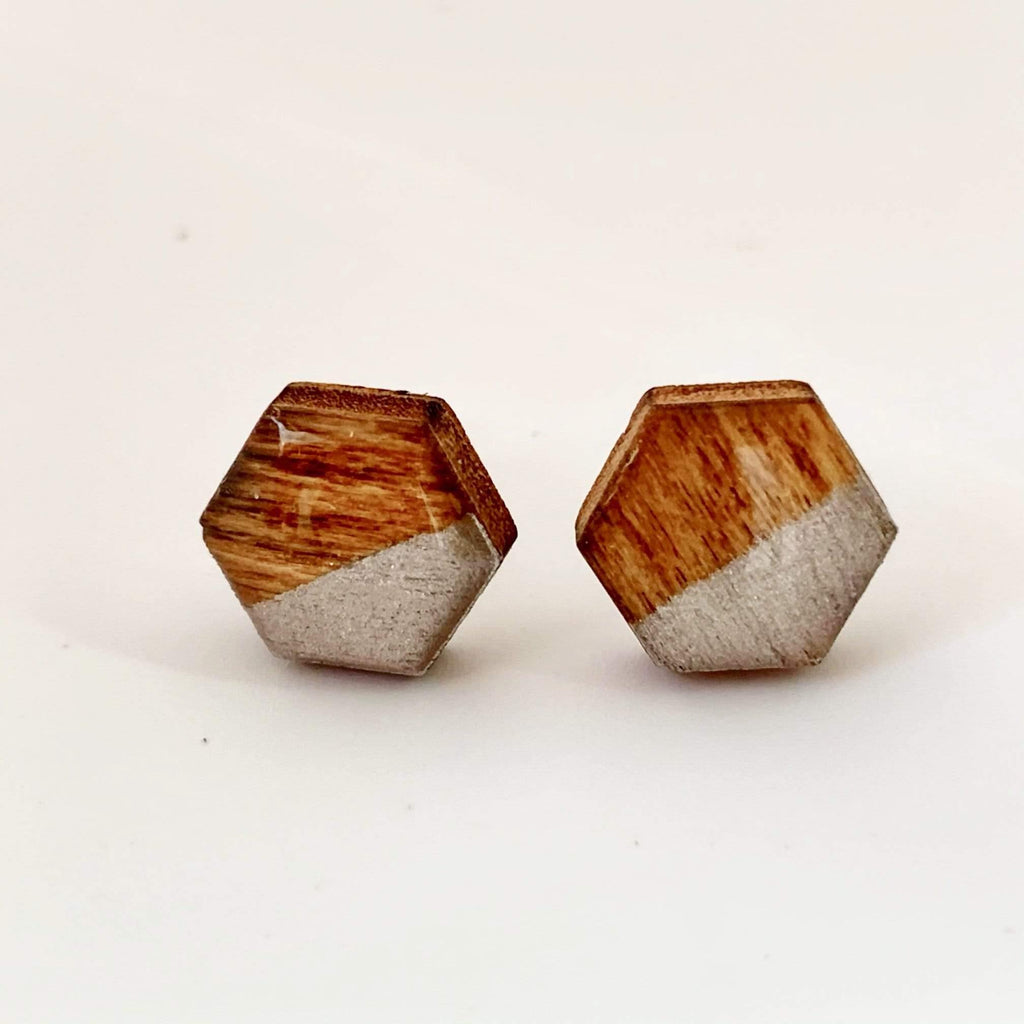 White and Silver Geometric Post Style Earrings, Hand Painted Hexagon Wood Earrings