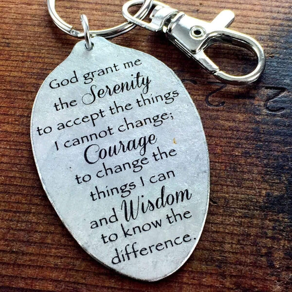 Serenity Prayer Strength and Encouragement Keychain, Inspirational Gift, God grant me the serenity to accept the things I cannot change...