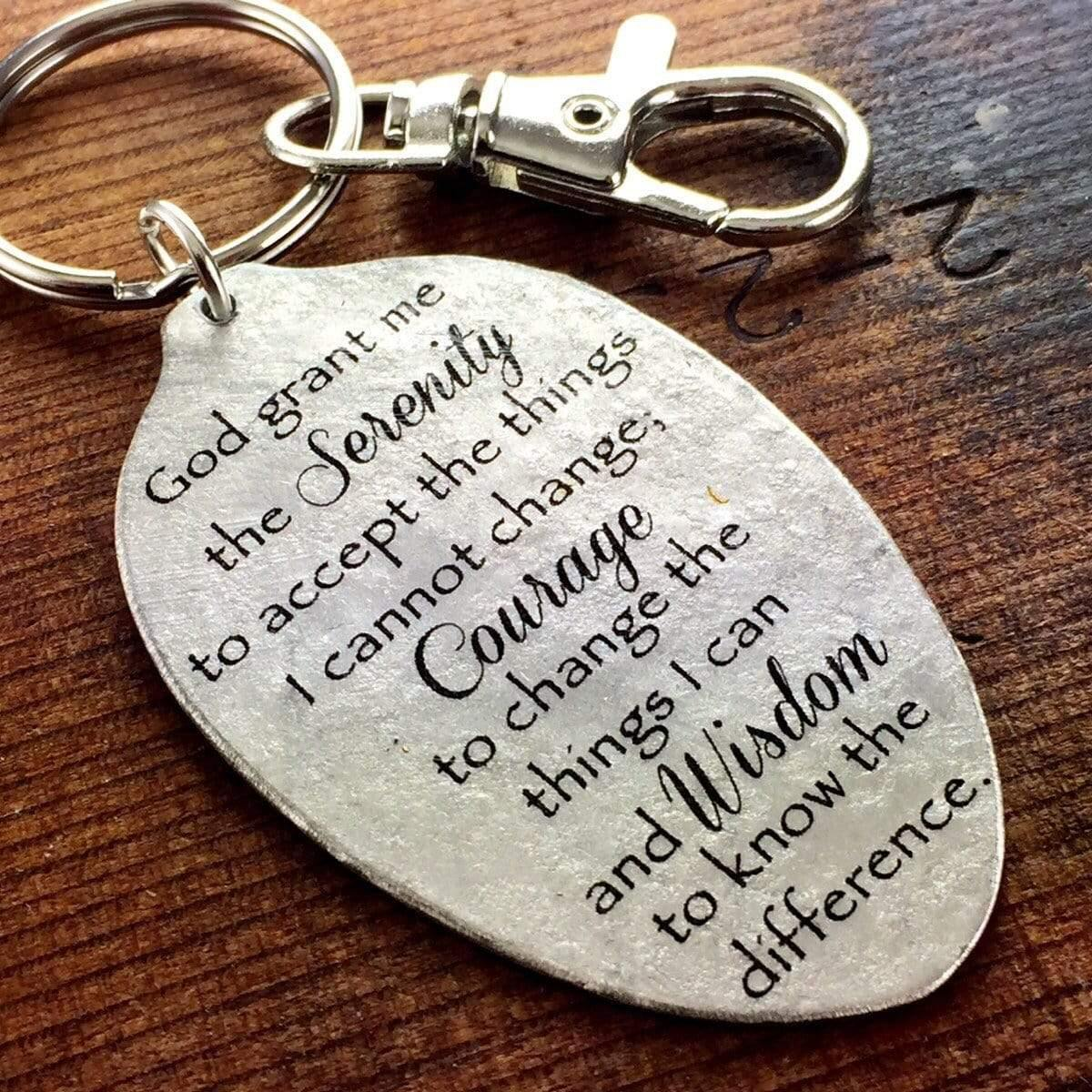 spoon keychain serenity prayer kyleemae designs