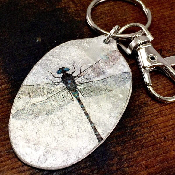 Dragonfly Spoon Keychain, Silverware Jewelry, dragonfly gift for friend, mom, sister, Silverware Jewelry, Inspiring Gift by Kyleemae Designs