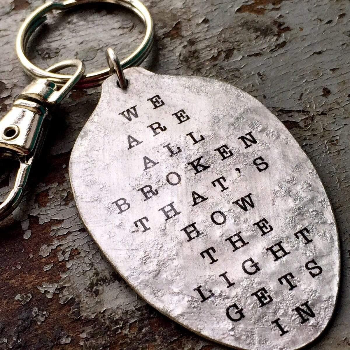 we are all broken inspiring keychain kyleemae designs