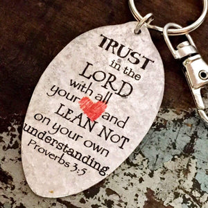Trust in the Lord with all your heart Proverbs 3:5 Spoon Keychain